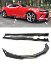 For 16-Up Camaro SS LS LT RS CARBON FIBER ZL1 Style Side Skirt Panel & Front Lip