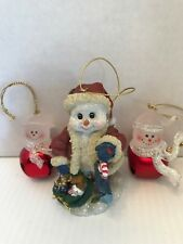 2 Snowman Bell Christmas Ornaments. One Ceramic Snowman Ornament.
