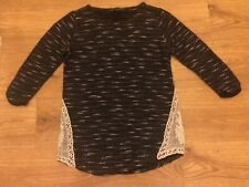 Jumper Size 8 Black White Lace trim