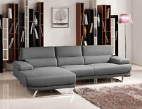 NEW Modern Sectional Gray Fabric Living Room Furniture Sofa Couch Chaise Set RVJ