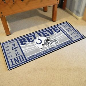 """Indianapolis Colts 30"""" X 72"""" Ticket Runner Area Rug Floor Mat NFL FANMATS"""