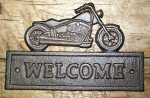 Cast Iron MOTORCYCLE WELCOME Sign Plaque Man Cave Wall Decor Harley Garage Biker