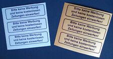 """3x """"Bitte keine Werbung einwerfen"""" Aufkleber gold silber wetterfest Sticker UV"""