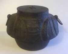 Antique Japanese Cast Iron Tea Ceremony Signed Water Pot W/ Bronze Lid