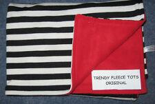 BABY blanket BLACK STRIPE & RED fleece & cotton reversible moses crib pram
