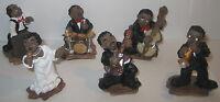 6 tlg. New Orleans Jazz Band, Figuren Set aus Kunststein, Handbemalt 6x3x3cm