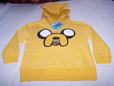 Adventure Time Boys Jake Face Yellow Printed Warm Hoodie Jumper Size 12 New