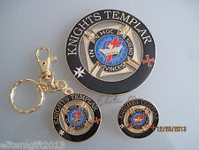 Masonic Knights Templar Cut out Car Auto Emblem   Keychain  And Lapel Pin