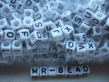 Plastic white alphabet cubes 6mm A to Z x2 sets (52 pieces)