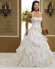 Ivory-White taffeta Embroidery bridal wedding dress stock size 6 8 10 12 14