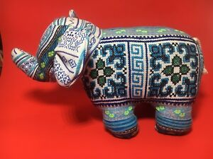 Embroidered Blue Stuffed Elephant 30cm Fabulous Print Soft Toy Boho Decor