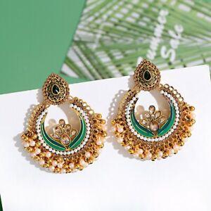 Gold Plated Indian Jhumka Jhumka Earrings Pearl Tassel Drop Bell Earring Jewelry