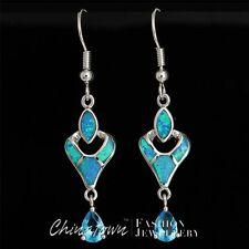 5x7mm Pear Blue Topaz Ocean Blue Fire Opal Silver Jewelry Dangle Drop Earrings