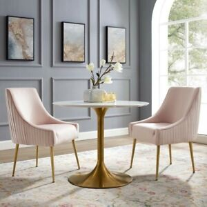 Modway Discern Pink Pleated Back Upholstered Performance Velvet Dining Chair
