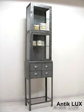 Metallvitrine Arztvitrine im Industrie-Design Vitrine Fabrik Möbel Antik-Lux
