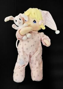 Precious Moments Baby Doll Musical Pull String Flannel Vintage Bunny Lullaby