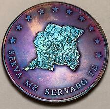 2013 SURINAME 10 DOLLARS .999 SILVER 1oz GEM COLOR TONED NEON BLUE PURPLE (DR)