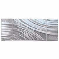 Original Metal Wall Art Contemporary Silver Decor Abstract Painting Modern Home