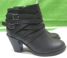 "New Ladies Women Black 3.5"" Block Heel side buckle Sexy Ankle Boot Size 8"