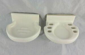 Vintage White Ceramic Tile Soap Dish and Toothbrush Holder