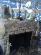 VTG  Hollow Fiberglass Carve Stone Fireplace Mantel Hearth Film Prop Heater Log