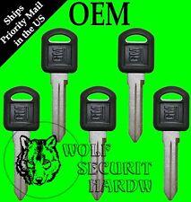 Lot of Five (5) GM Logo OEM Uncut Key Blank Small Black Plastic Head 596222