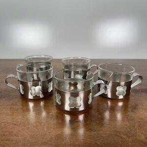 5 Vintage Duralex France Glass Mug w/ stainless Vase