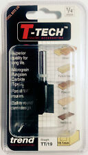 """Trend T-Tech TT/19 - 1/4"""" TCT Straight Two Flute Router Cutter Bit for Wood"""