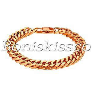"""Men's 10mm Wide Durable Stainless Steel Heavy Curb Link Chain Bracelet 8"""" 21cm"""