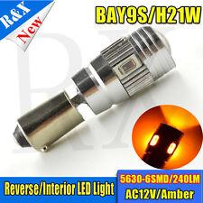 1X Bay9S H21W 435 Canbus 5630 6 Smd LED Bulbs AMBER Reverse Light AC 12V 3000K