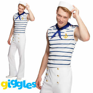 Mens French Sailor Costume Navy Uniform Captain Adult Sexy Fancy Dress Outfit