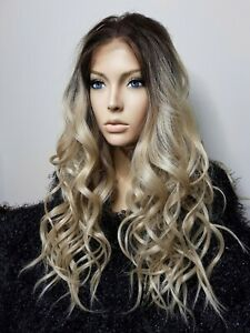 STUNNING HIGH QUALITY LONG NATURAL BLONDE WAVY/CURLY DEEP LACE WIG FREE WIG KIT