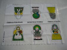 1976 Springs Mills Children Of The World 3 Stuffed Doll Pattern Fabric Panel