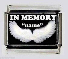 Special Order IN MEMORY ANGEL WINGS Italian photo 9mm Charm for modular bracelet