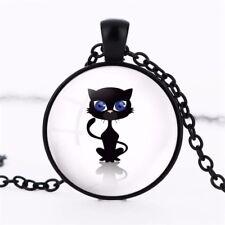 Retro Cat Blue Eyes Art Crystal Glass Pendant Necklace Jewelry Gift Bag - Black