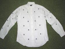 """Men's (L) POLO-RALPH LAUREN White """"SKULL & CROSSBONES"""" Oxford Shirt"""