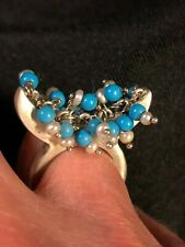 and Pearl Beads - Size 7 Handmade Silver Beaded Ring with Dangling Blue