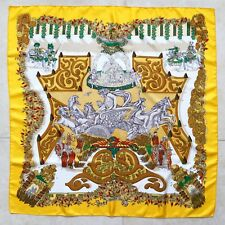 HERMES yellow orange & silk scarf Le Paradis du Roy by Annie Faivre from 1992