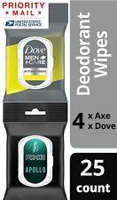 Lot of 8 Axe Apollo/Dove Men Care Deodorant Wipes 25 Towelettes per pack