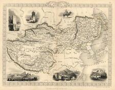 Tibet Mongolia Manchuria China Great Wall Tallis 1851 decorative vignette map