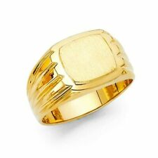 14k Yellow Gold 12mm Men's Square Onyx Ring