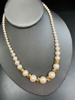 """Vintage Graduated Bright White Pearl Strand Necklace Wedding Prom  16"""" Long"""