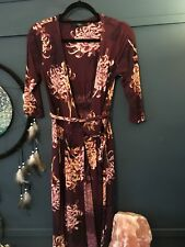 Womans Next Wrapover Dress Burgandy With Peony Flower Size 6