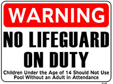 WARNING NO LIFEGUARD ON DUTY 18x24 Heavy Duty Plastic Indoor/Outdoor Sign M-49