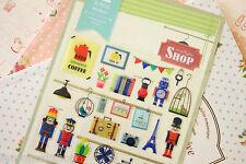 Vintage Shop Stickers cute cartoon Eiffel Bird Cage Toy Soldiers planner sticker