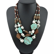 Style Turquoise Pendant Choker Women's Multilayer Chunky Necklace Bohemia
