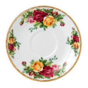 Royal Albert Saucer Tea Plate Old Country Roses Bone China 1960s Red Retro