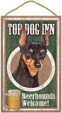"""Top Dog Inn Beerhounds Miniature Pinscher Bar Sign Plaque dog pet 10""""x16"""" Beer"""