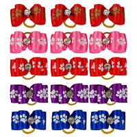 50/100pcs Puppy Pet Paw Print Cat Dog Hair Bows Grooming Accessories for Puppies