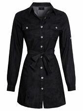 Womens Denim Shirt Dress Cotton Black Casual Dresses Size 16 10 12 14 8 New